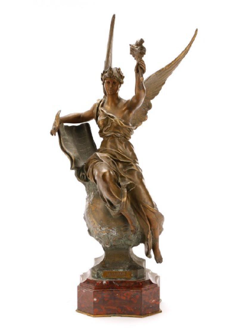 "Marcel Debut, ""La Science"" Bronze on Marble - 3"