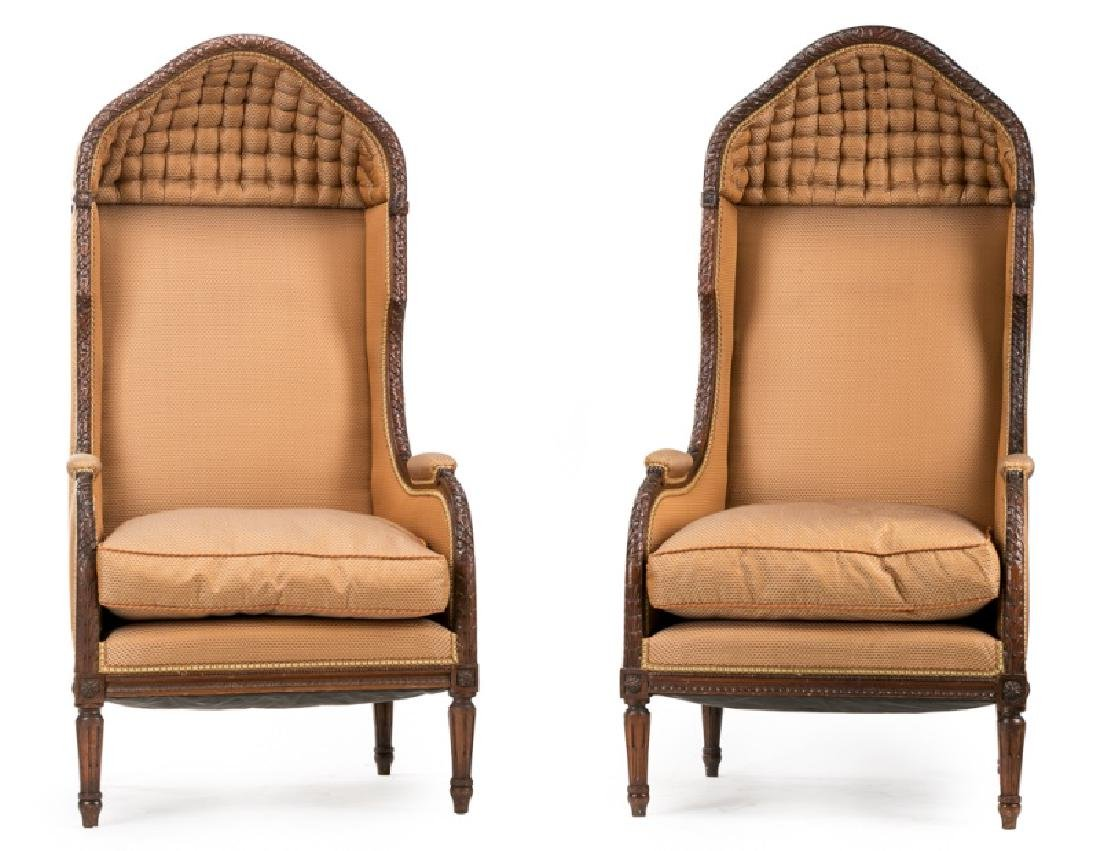 Pair, Early 20th C. Carved Walnut Porters Chairs
