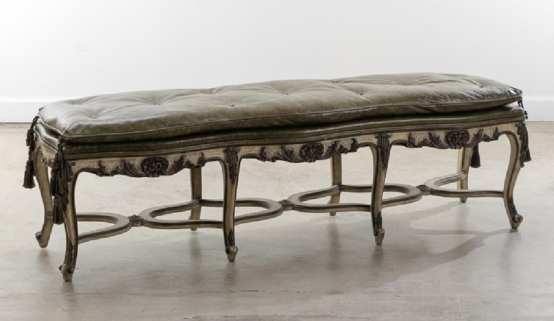 Louis XVI Style Bench w/ Green Leather Padded Seat