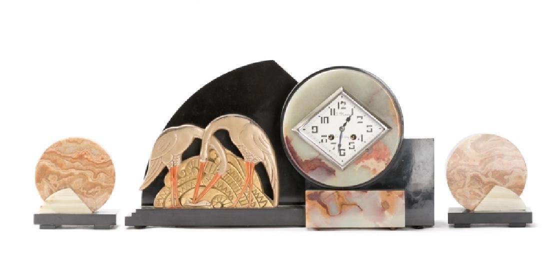 Art Deco Clock & Garniture Set With Storks