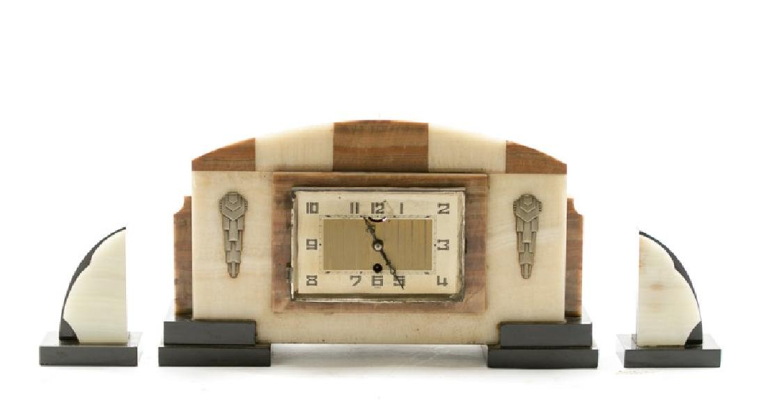 Art Deco Mantle Clock with Garniture