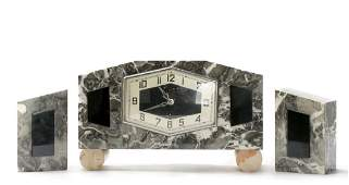 Art Deco 3 Piece Marble  Onyx Clock Set