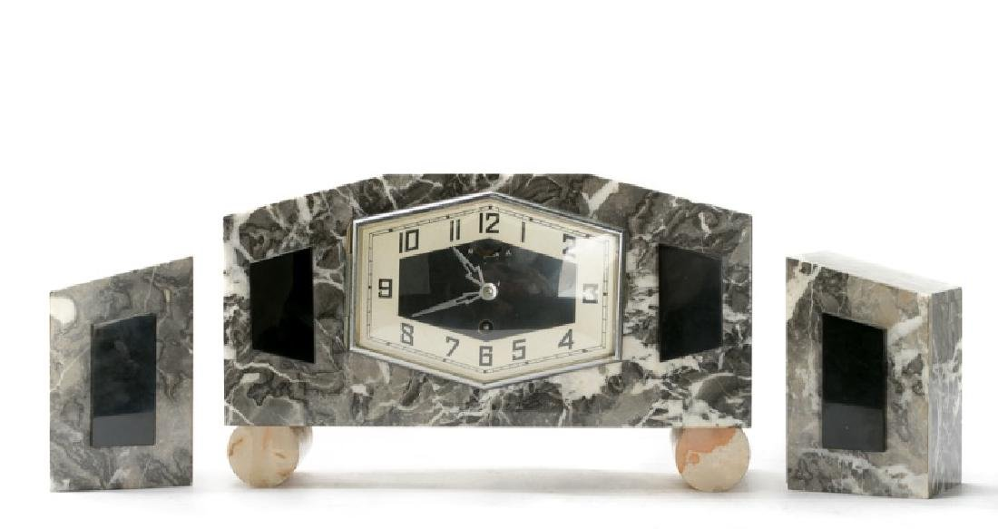 Art Deco 3 Piece Marble & Onyx Clock Set