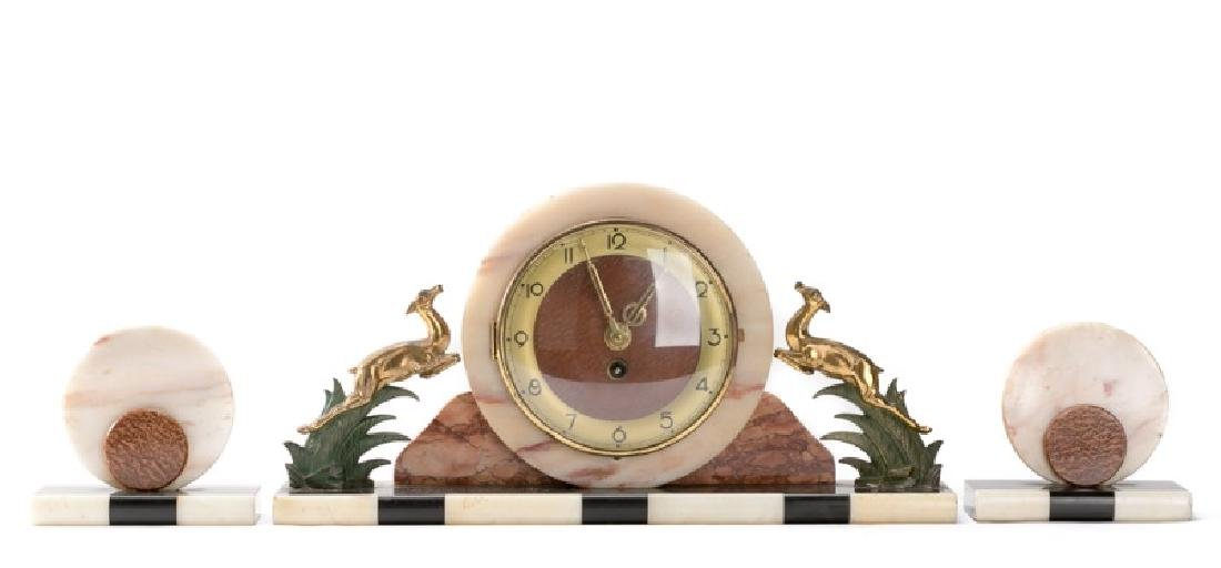 Belgian Art Deco Clock Clock with Garniture