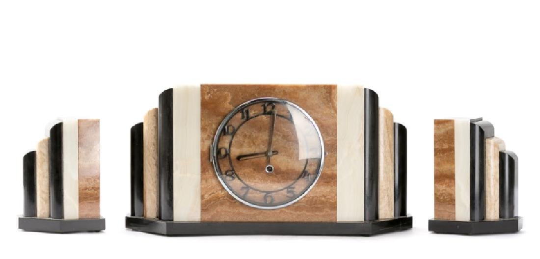 Art Deco Waterfall Marble Clock with Garniture