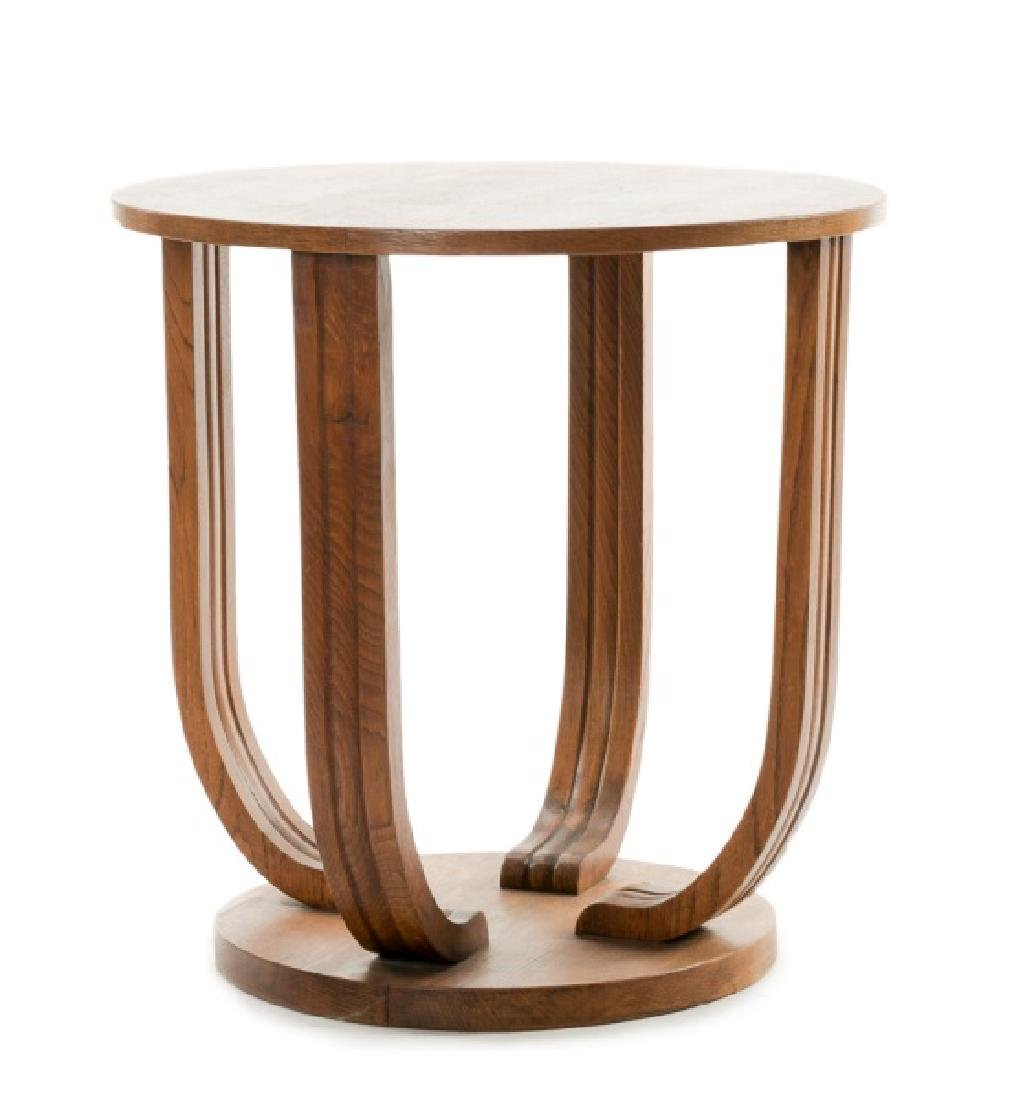 French Art Deco Oak Round Side Table