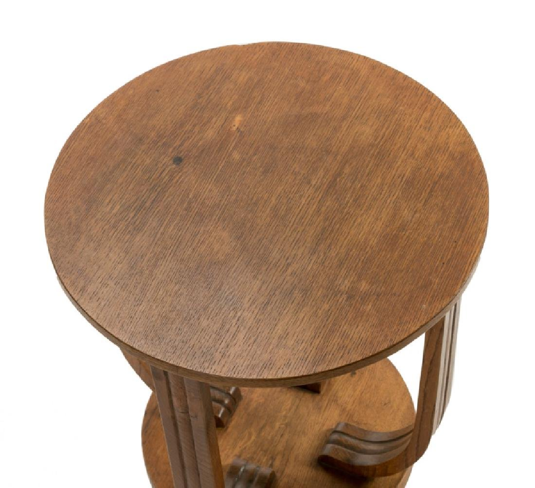 French Art Deco Oak Round Side Table - 2