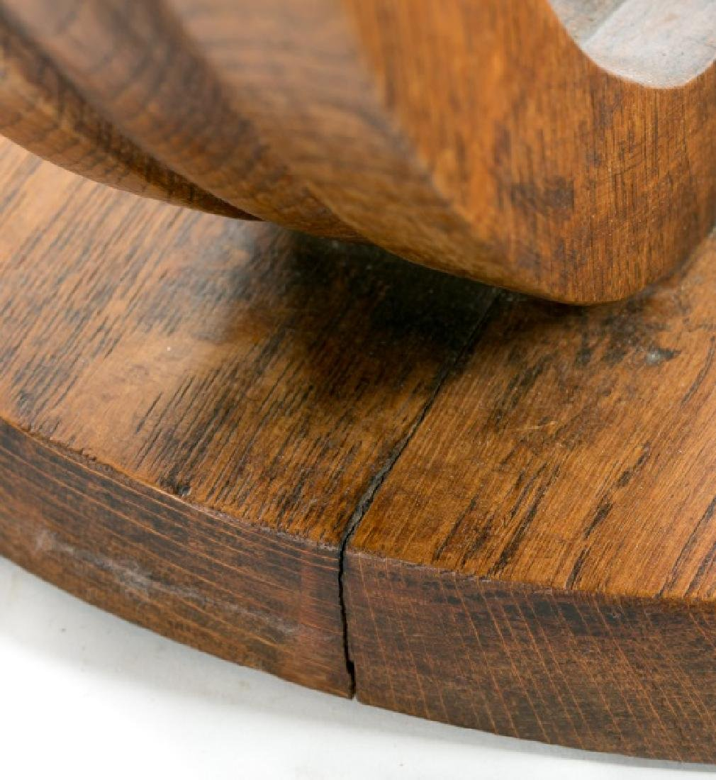French Art Deco Oak Round Side Table - 4