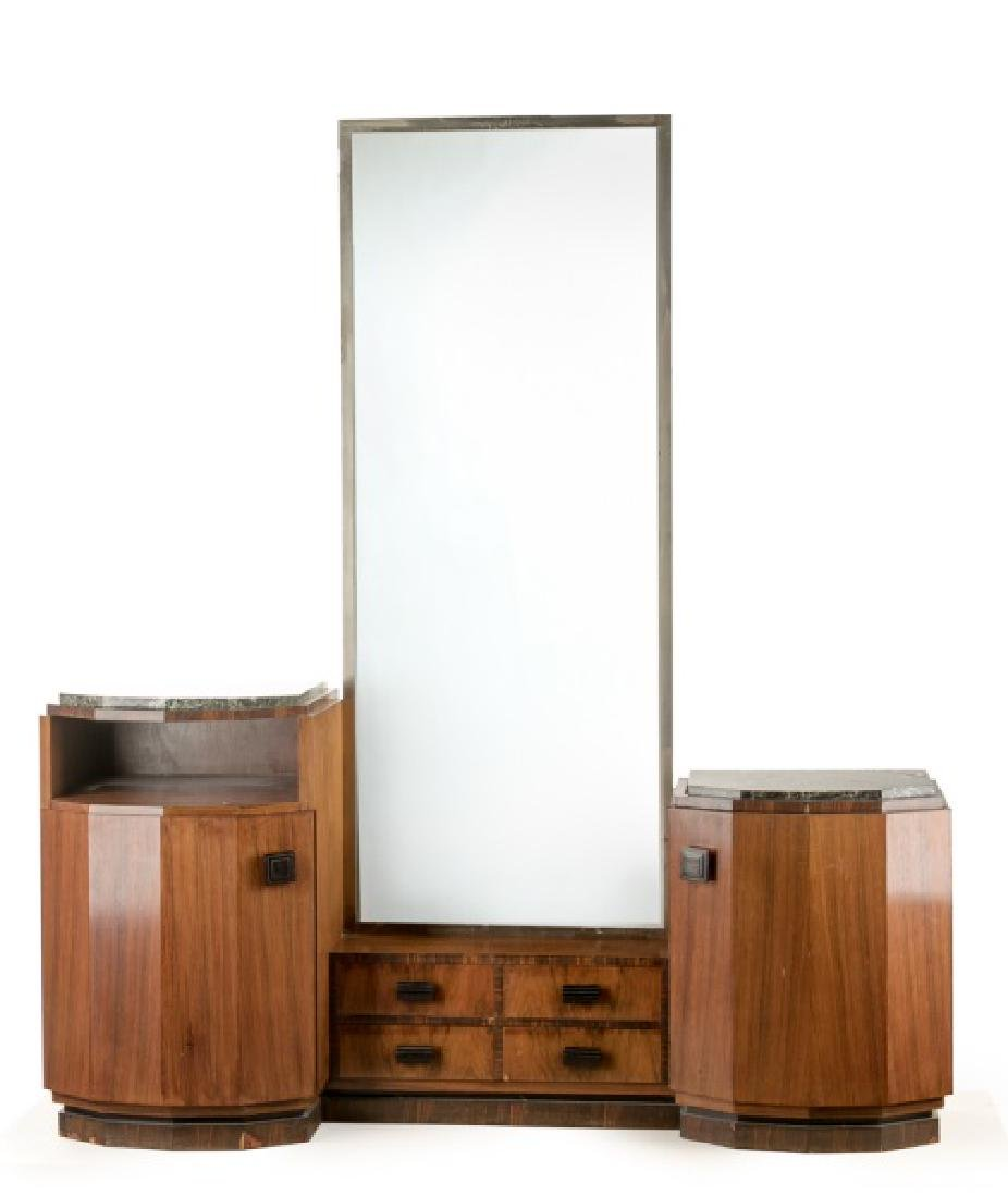Art Deco Walnut Vanity with Marble Inset Tops