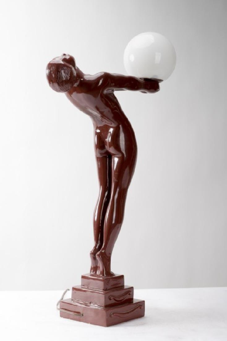 Art Deco Style Figural Lamp After Max Leverrier - 2