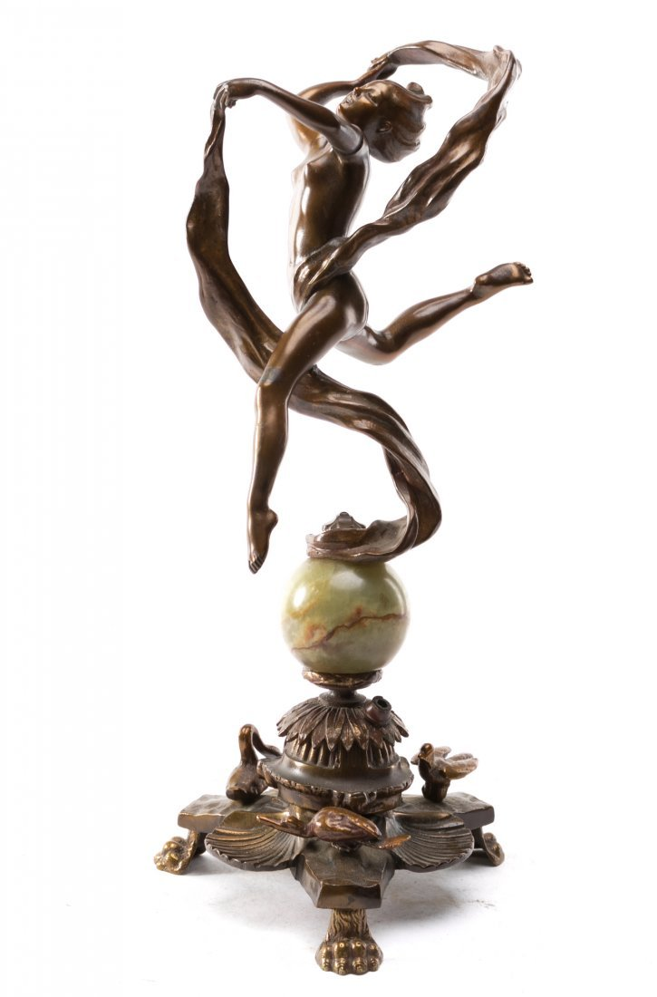 "Art Deco Figural Bronze Sculpture ""Ribbon Dancer"""