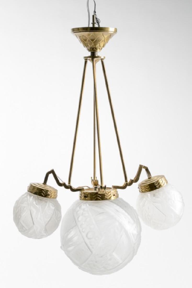 French Art Deco Gilt Brass Fixture w/Glass Globes