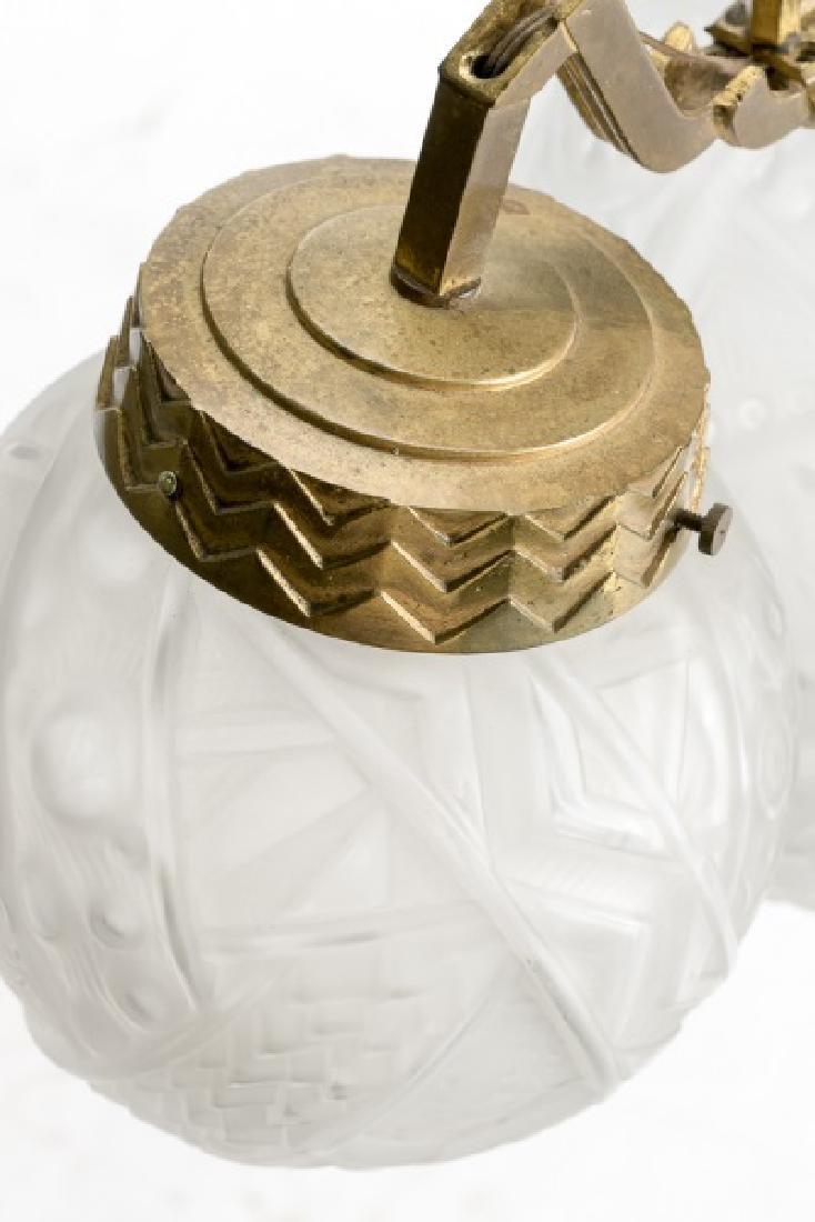 French Art Deco Gilt Brass Fixture w/Glass Globes - 2