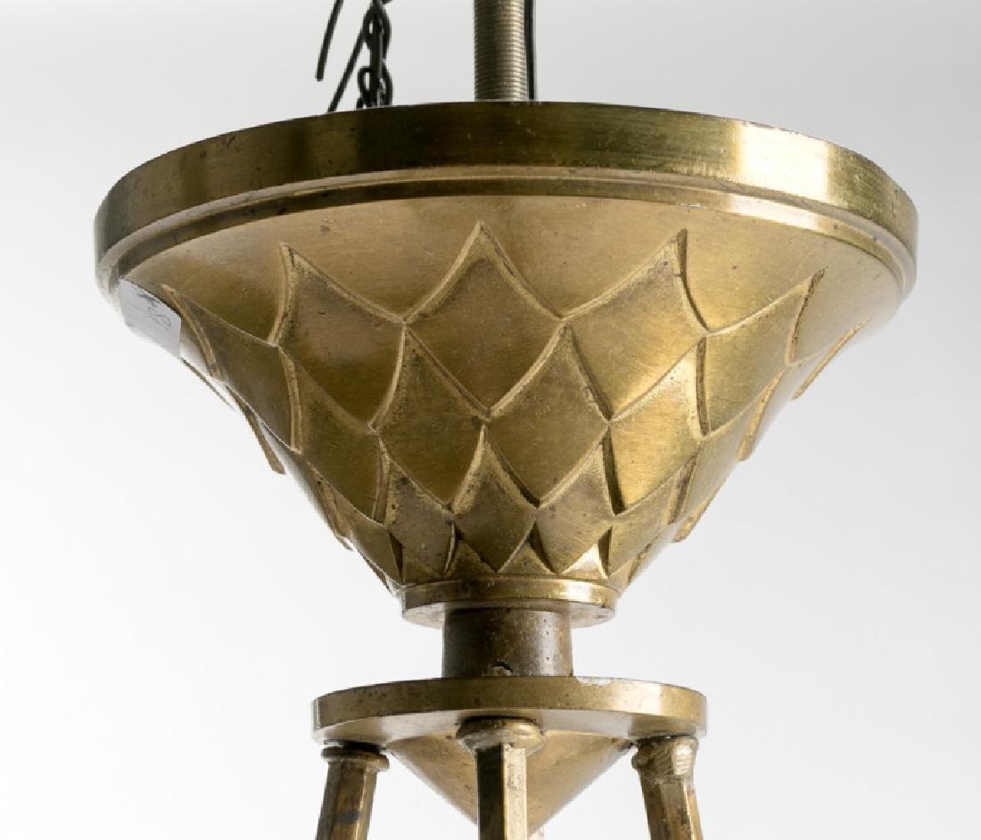 French Art Deco Gilt Brass Fixture w/Glass Globes - 3
