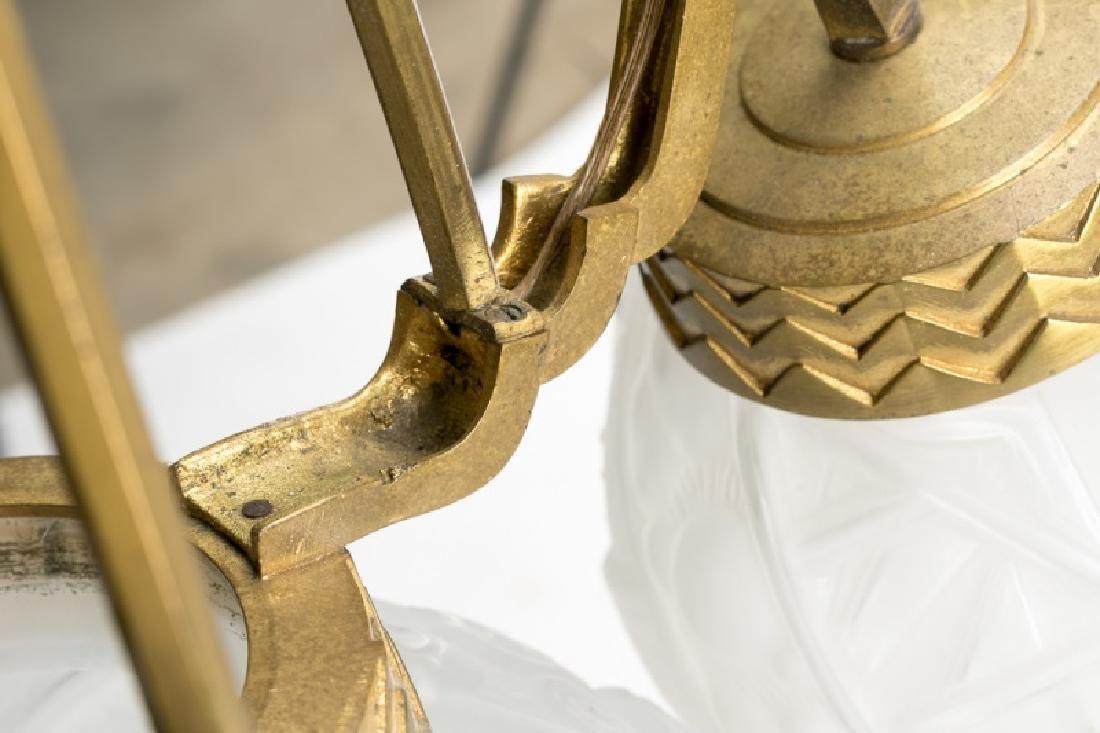 French Art Deco Gilt Brass Fixture w/Glass Globes - 6