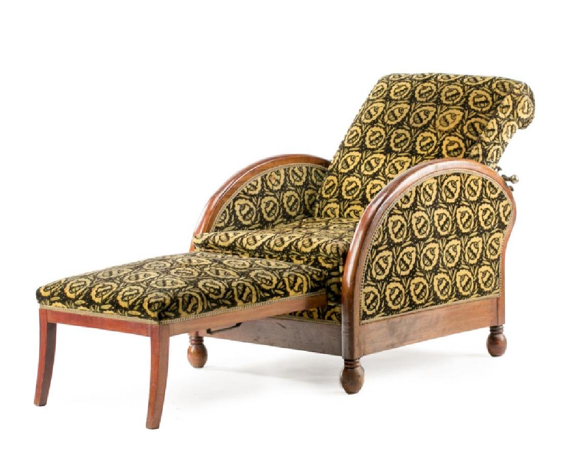 French Art Deco Recliner w/ Original Mohair Fabric