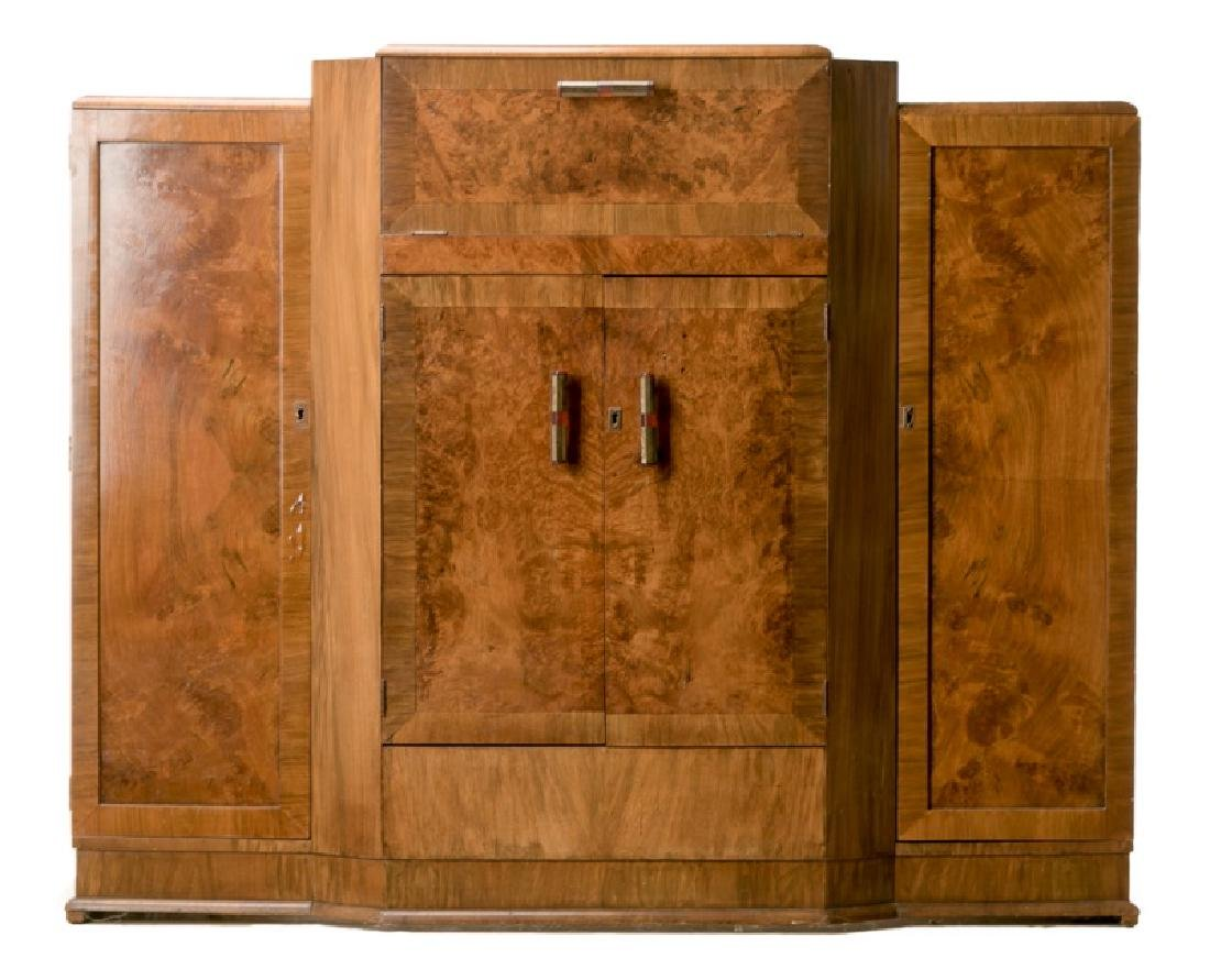 Art Deco Burled Walnut Bar Cabinet