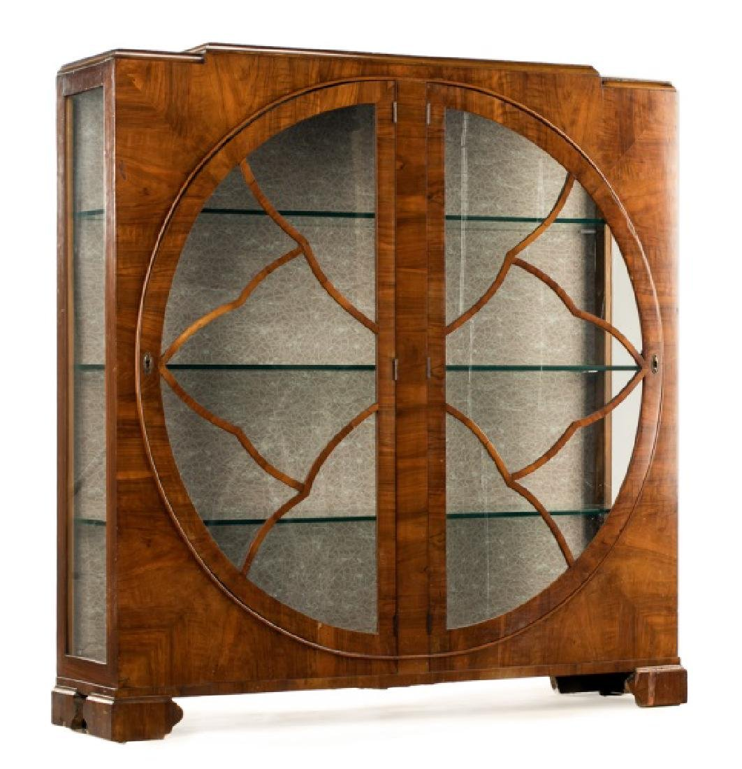 Art Deco Walnut Two Door Display Cabinet
