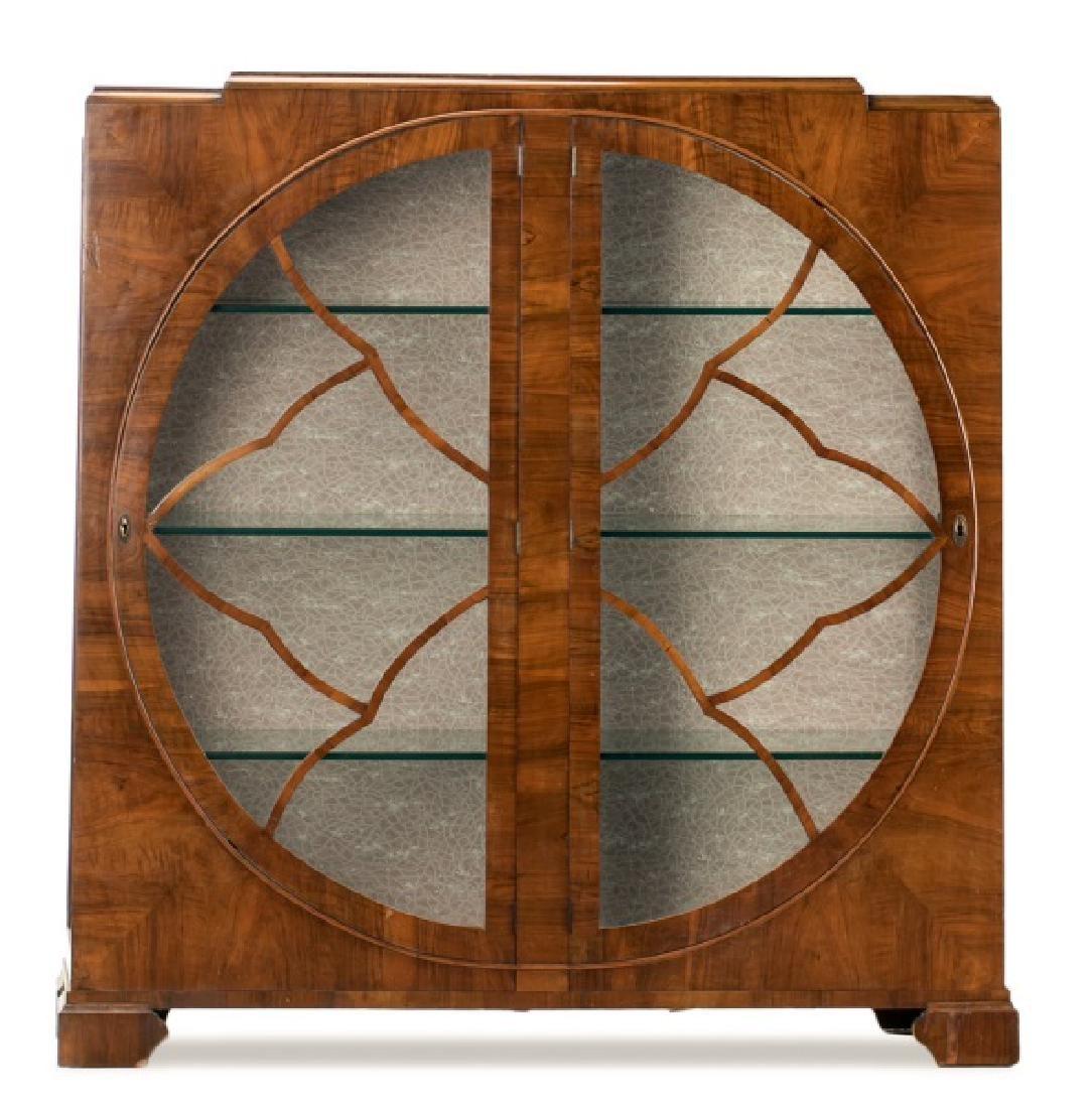 Art Deco Walnut Two Door Display Cabinet - 2
