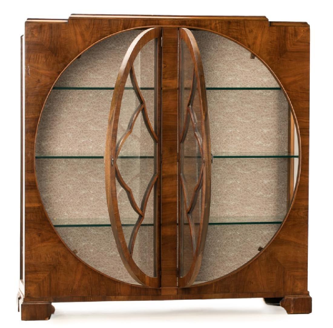 Art Deco Walnut Two Door Display Cabinet - 3