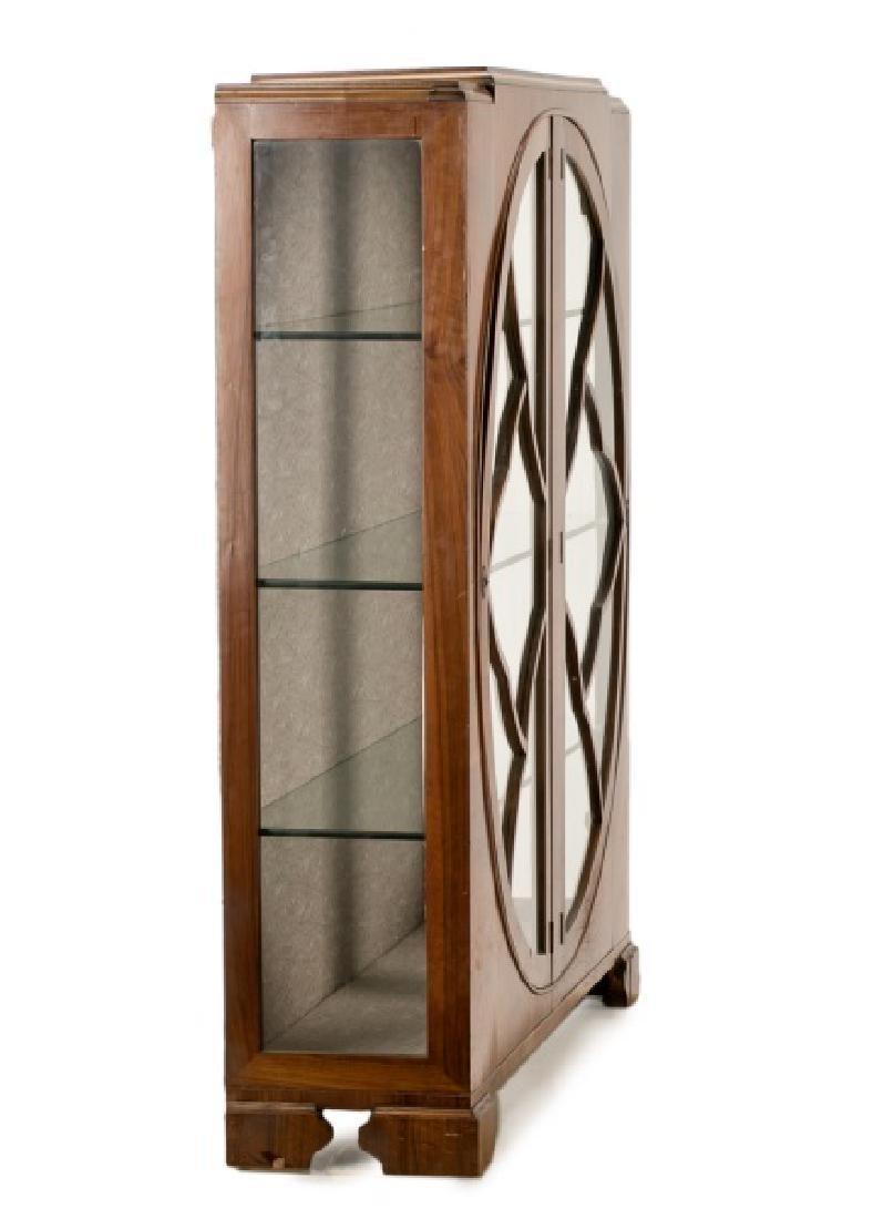 Art Deco Walnut Two Door Display Cabinet - 4