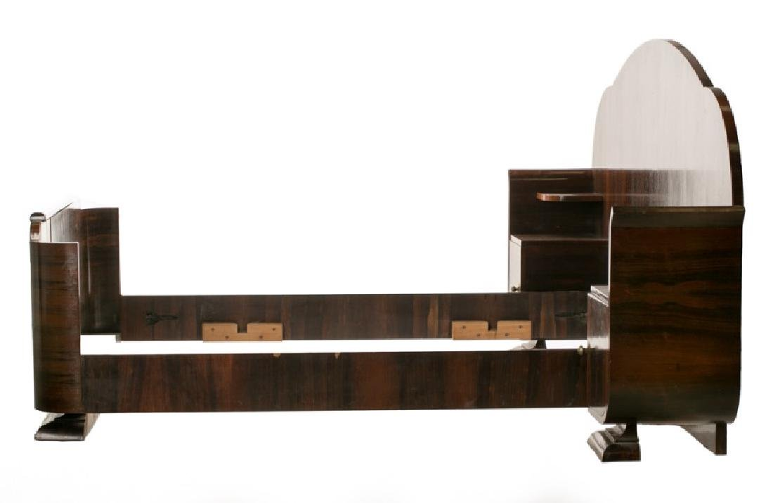 Art Deco Rosewood Bed with Attached Night Stands