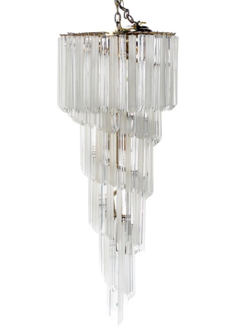 1970s Deco Style Spiral Lead Crystal Chandelier