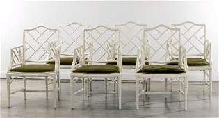 Six Lacquered Bamboo Hollywood Regency Armchairs