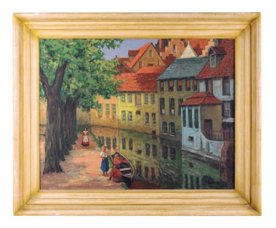 "Albert Abramovitz Signed Oil on Canvas ""Canal"""