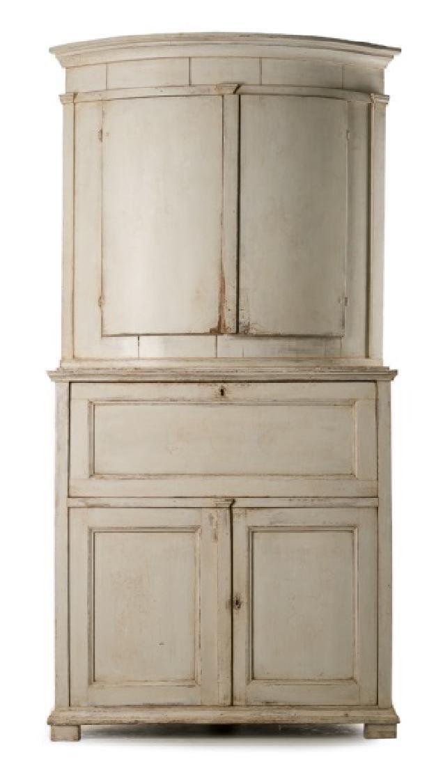 19th C. Gustavian Pine Corner Cabinet/Secretary