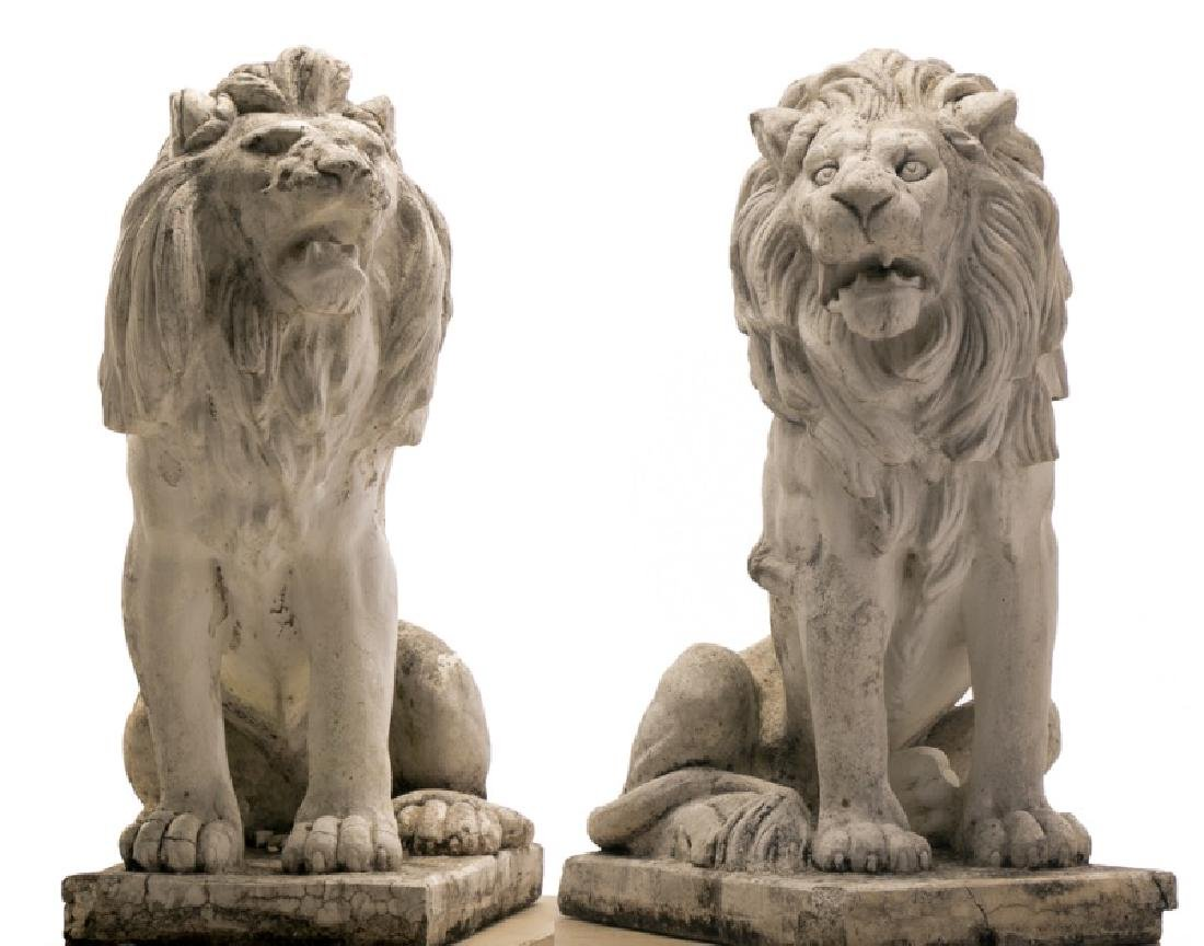 Pair, Large Seated Cast Stone Guardian Lions
