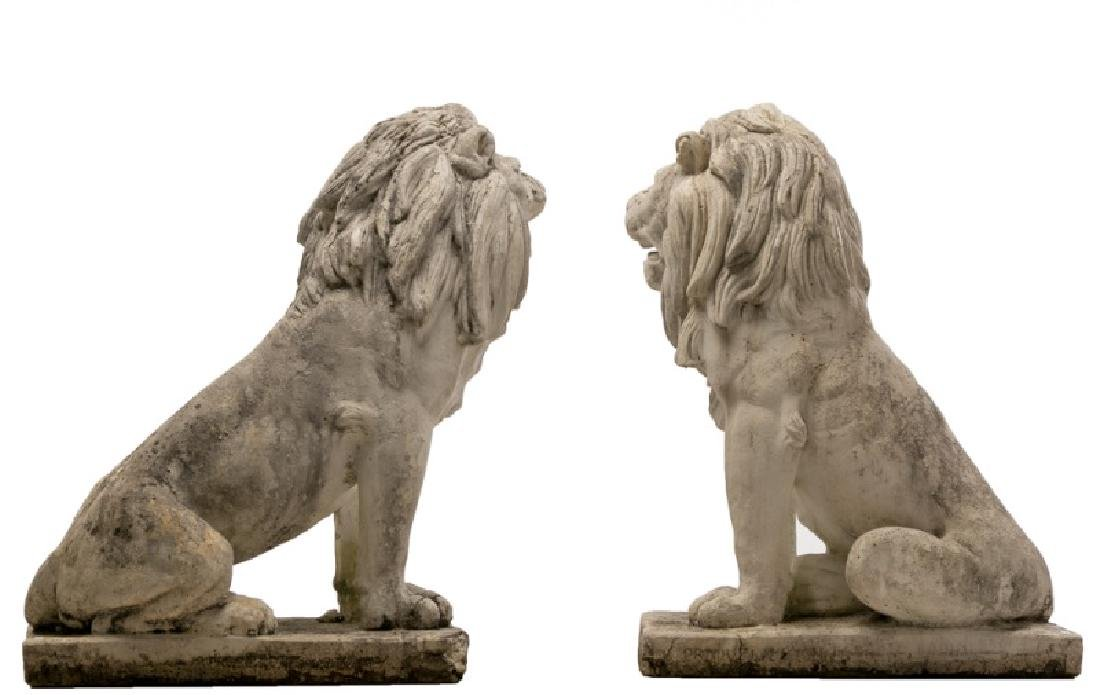 Pair, Large Seated Cast Stone Guardian Lions - 2