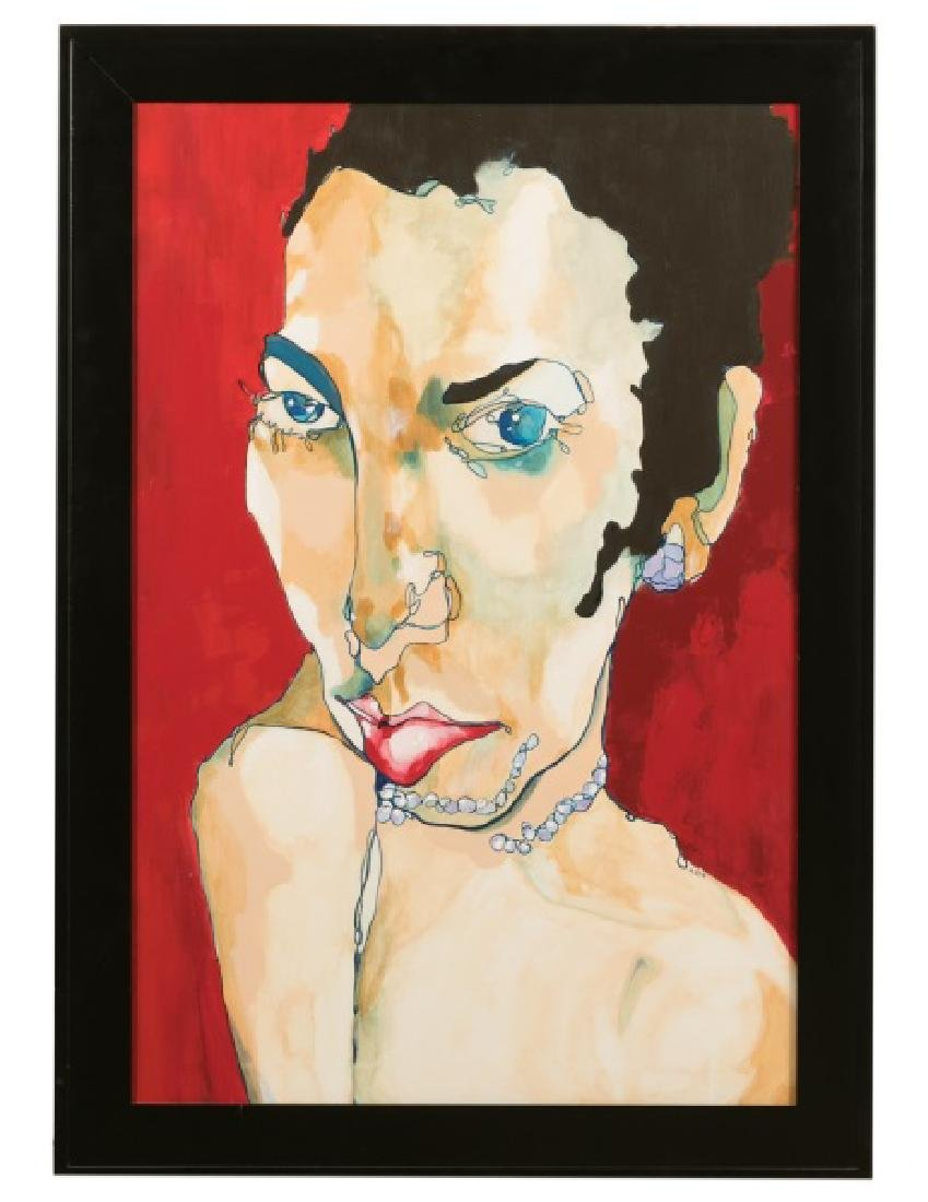 "Margaret Elliott Mixed Media Portrait, ""Ruby"""