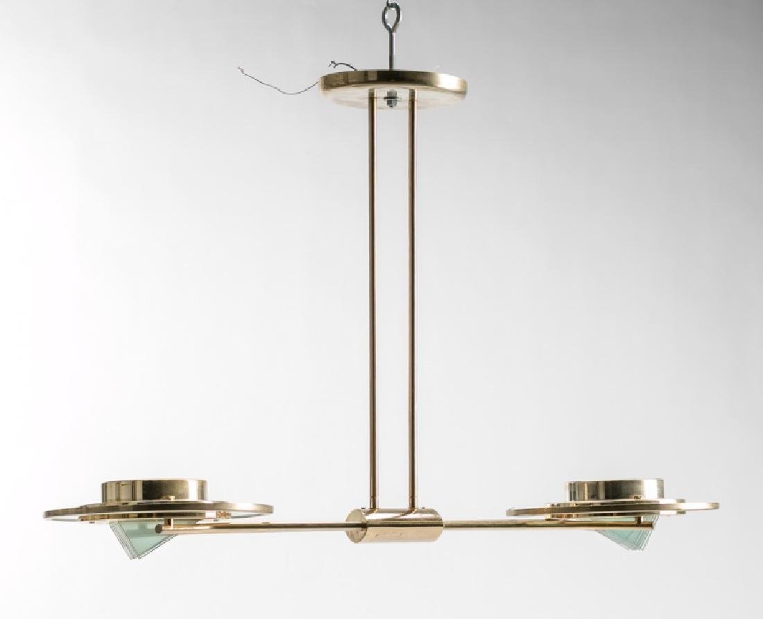 Modernist Brass & Glass 2 Light Pendent Lamp