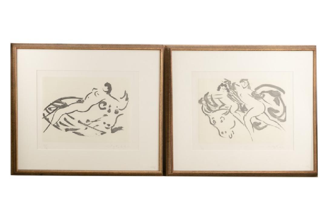Two Signed Figural Lithographs, Reuben Nakian