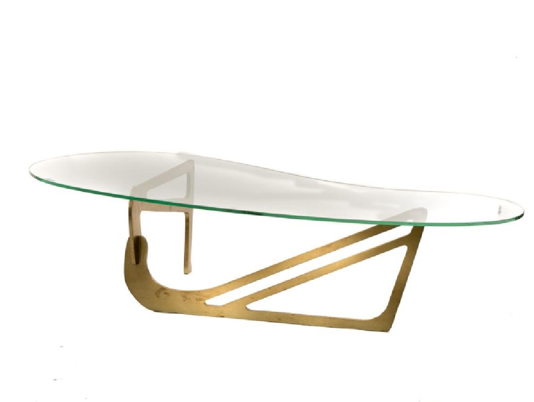 Noguchi Style Brass & Glass Top Coffee Table