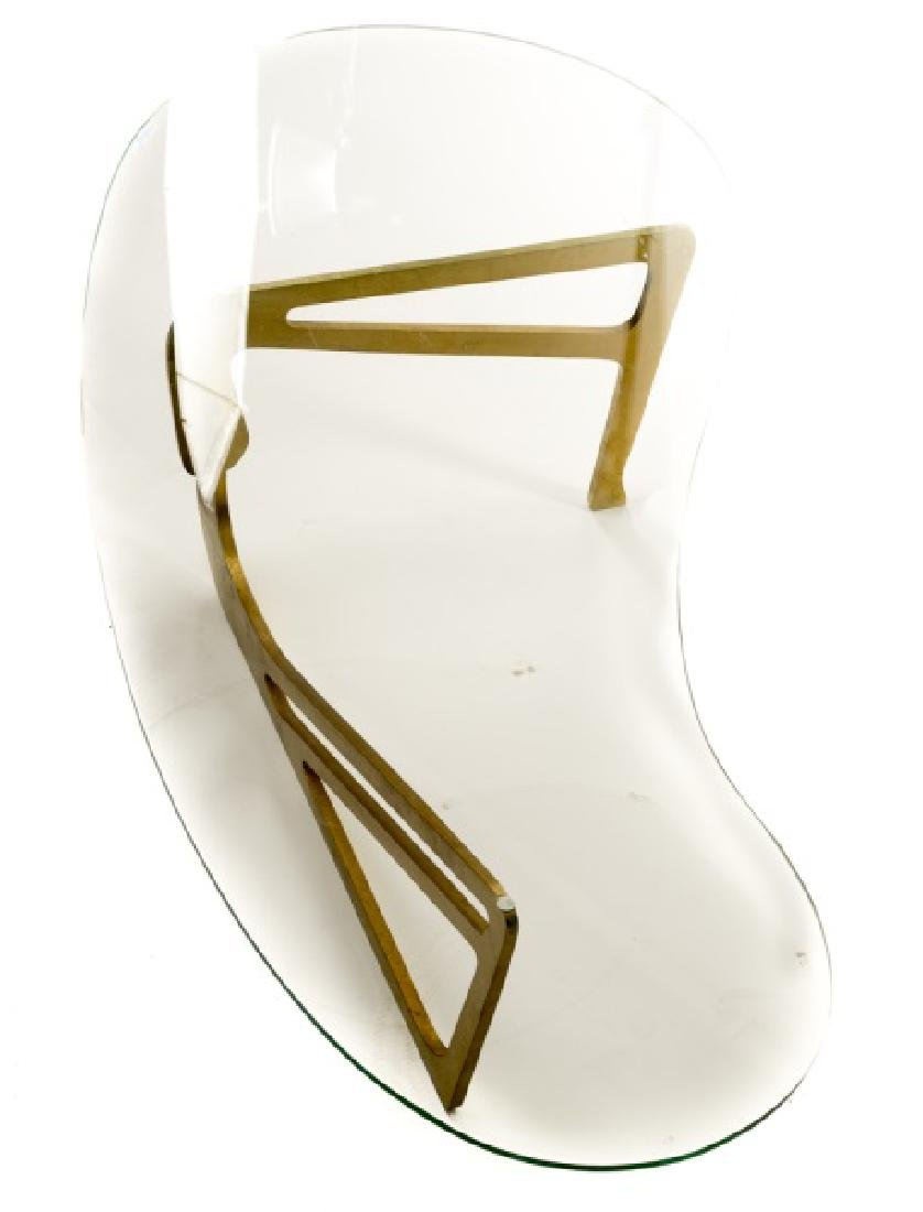 Noguchi Style Brass & Glass Top Coffee Table - 2