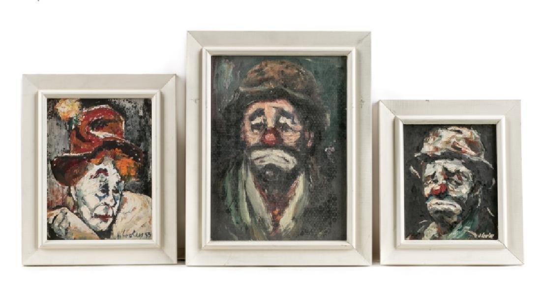 """Three Jack Cooley """"Sad Clown"""" Oil Paintings"""