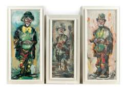 Group of Three Jack Cooley Clown Paintings