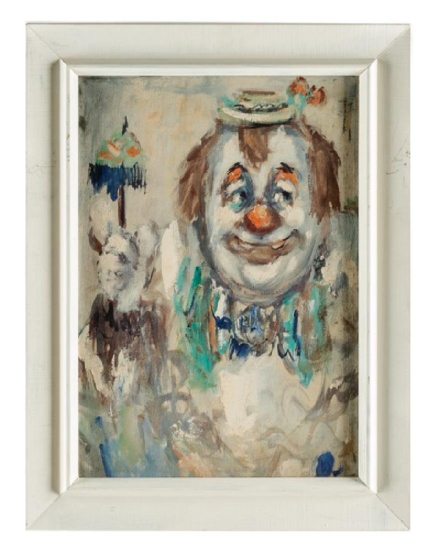 "Jack Cooley Oil on Masonite ""Happy Clown"""