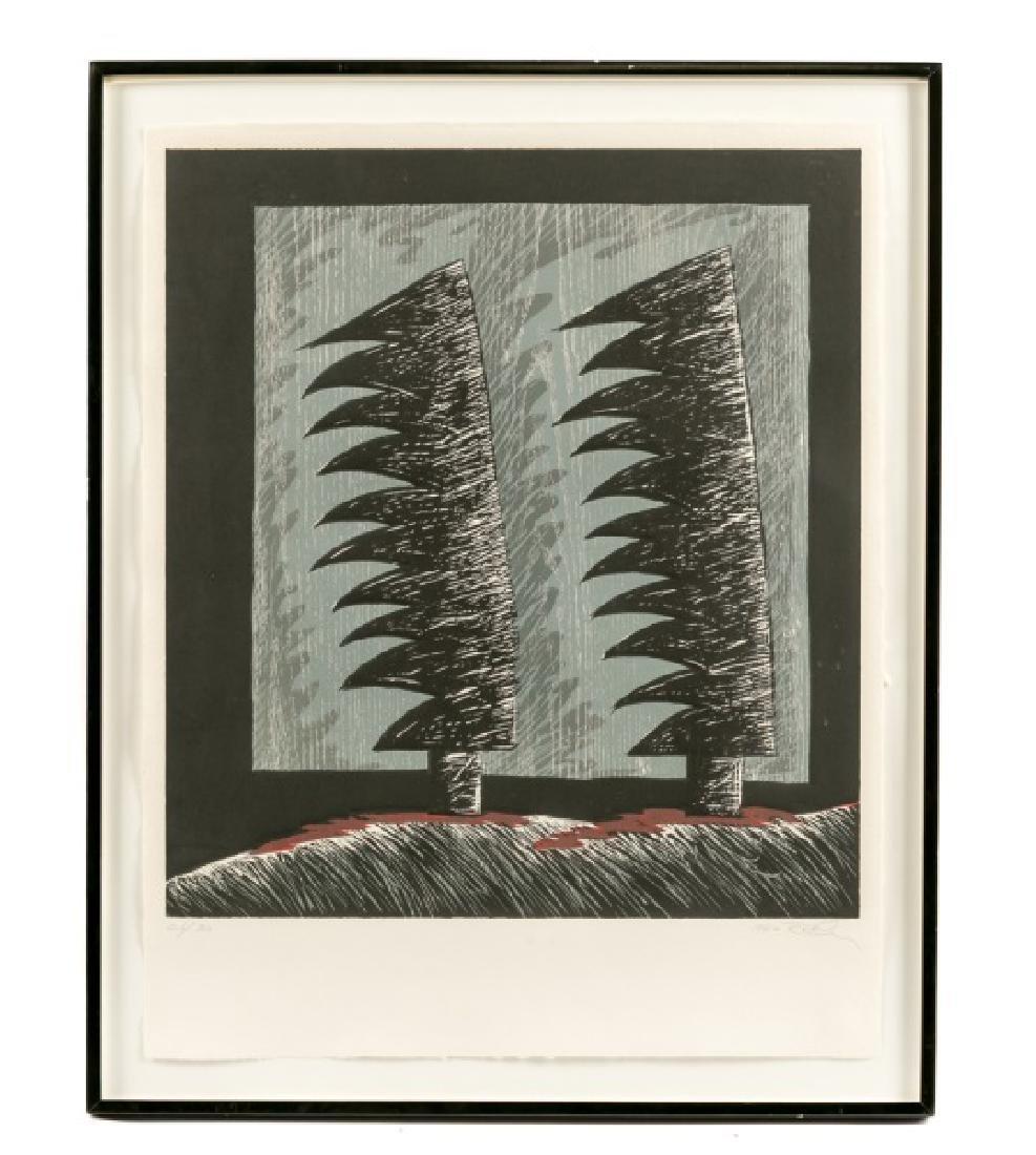"Rex Lau ""Red Shadows"" Woodcut, 1984"