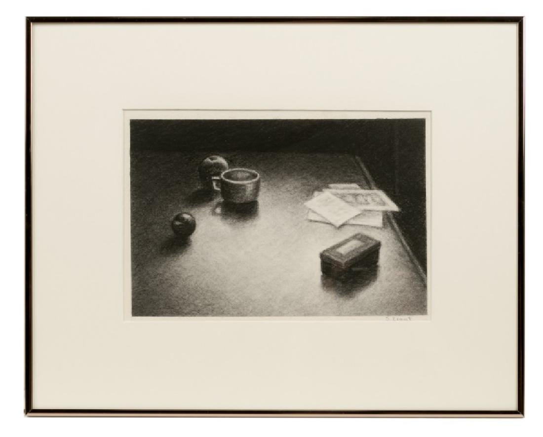 """Susan Kraut """"Oxbow Still Life"""" Charcoal, Signed"""