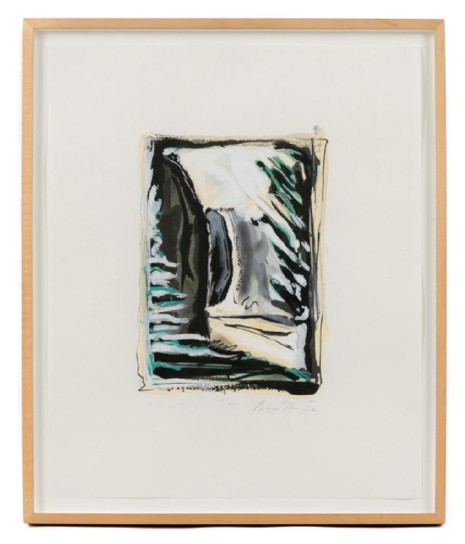 "Bryan Hunt ""Window"" Signed Woodcut, 1986"