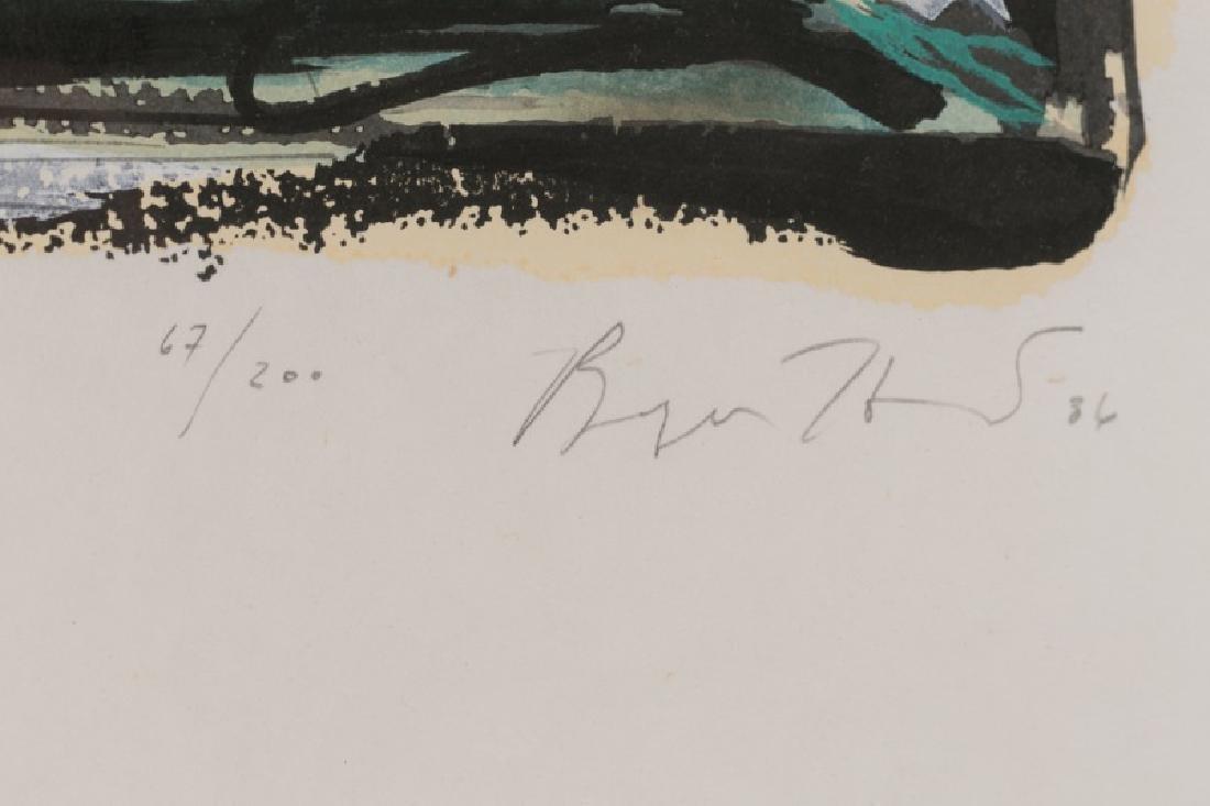 "Bryan Hunt ""Window"" Signed Woodcut, 1986 - 4"