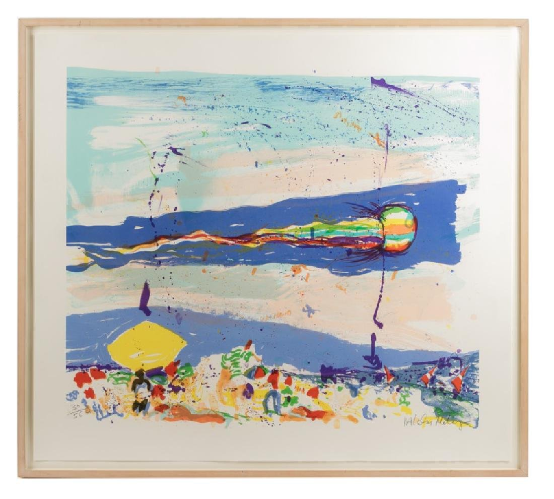 "1987 Malcolm Morley ""Kite on Gibson Beach"" Litho"