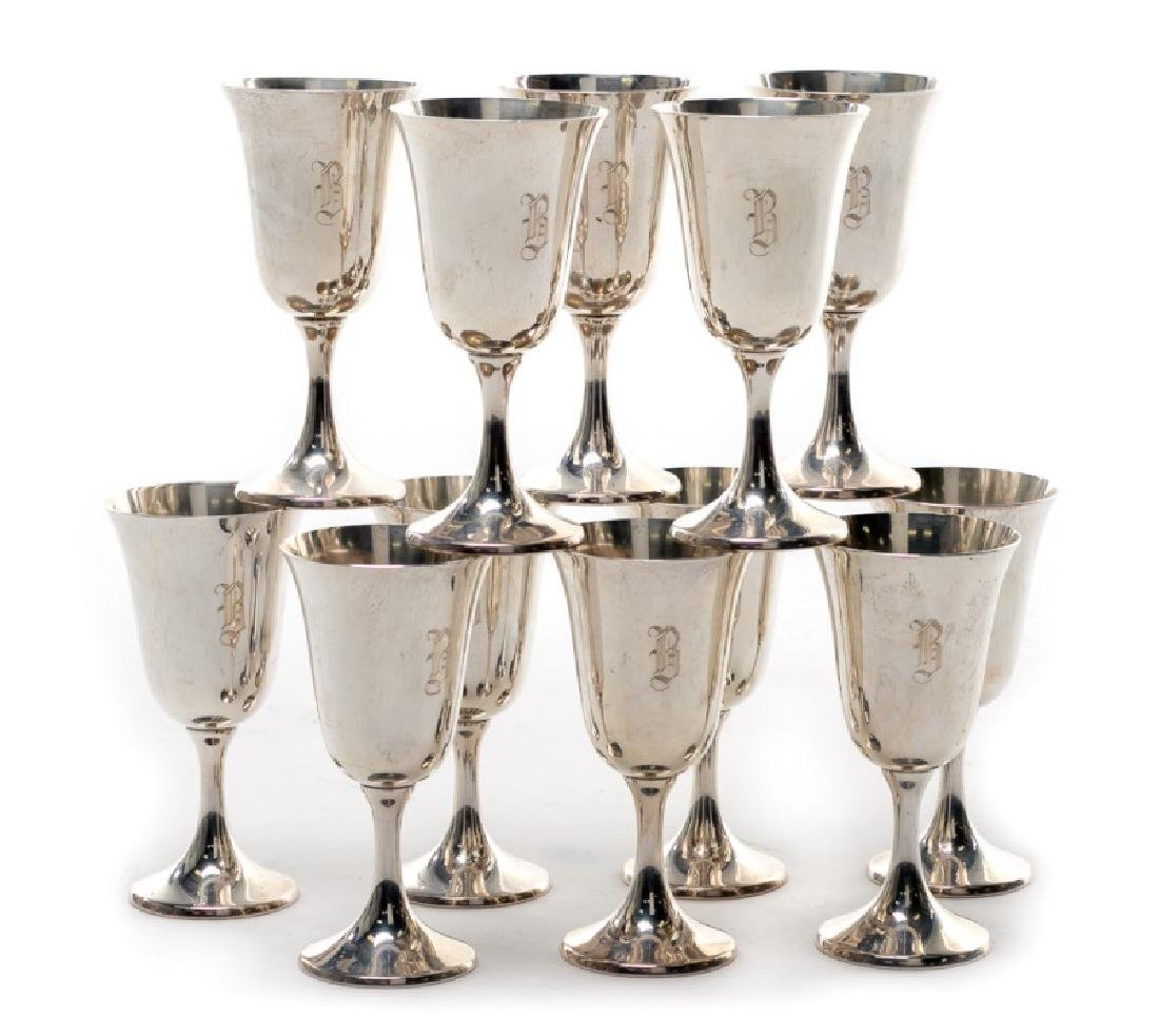 Set of 12 Manchester Sterling Silver Goblets