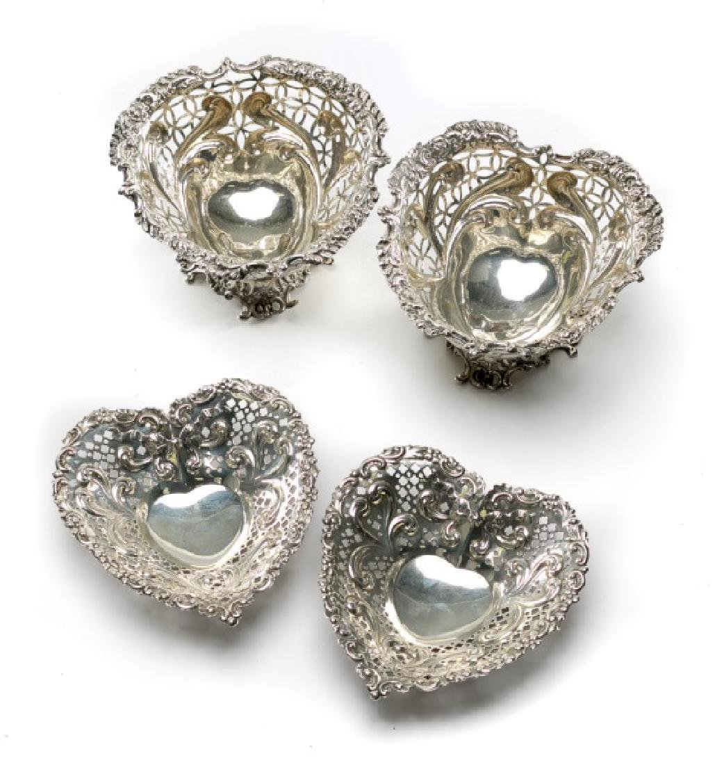 2 Pairs of Sterling Silver Heart Shaped Dishes