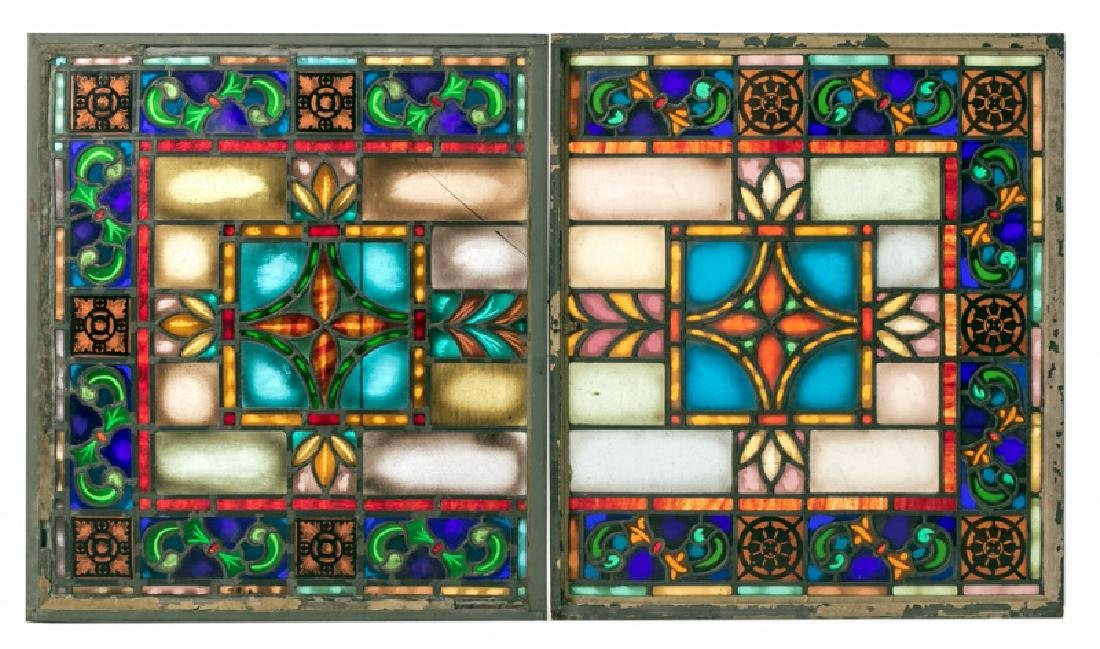Pair Stained Glass Windows with Floral Motif