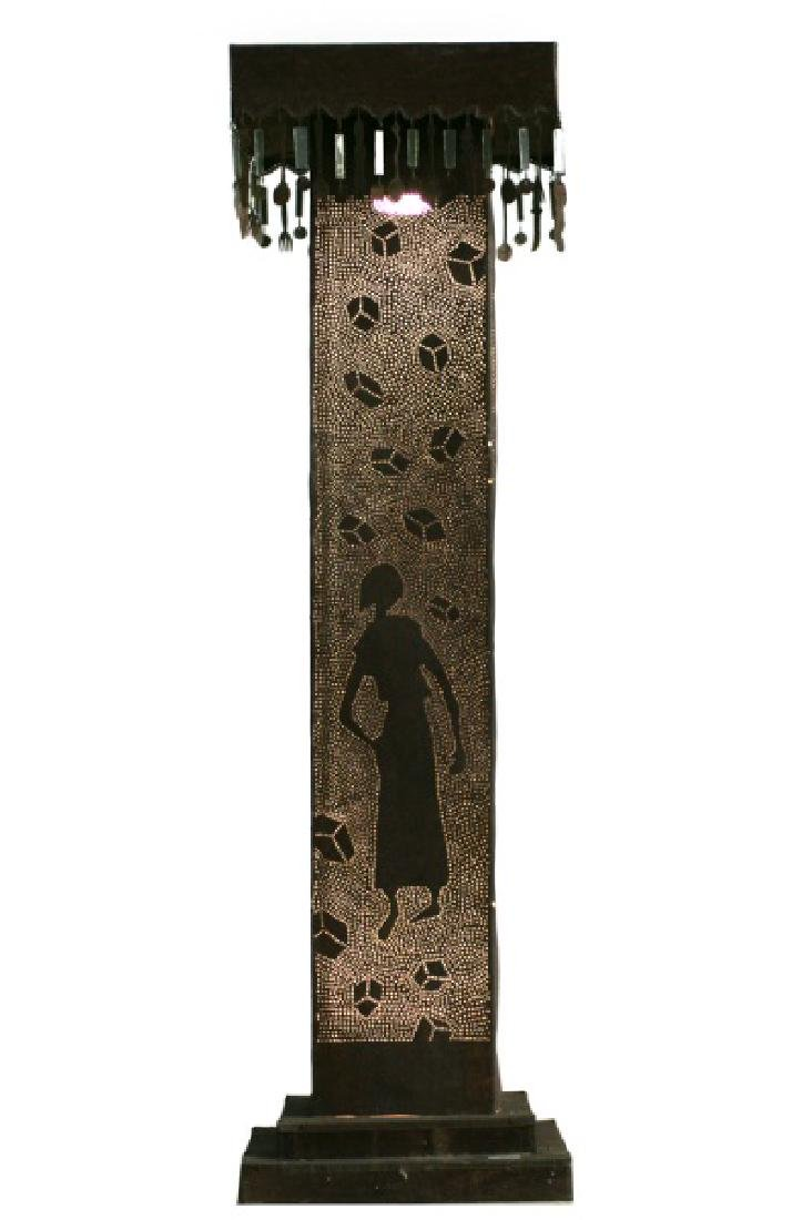 Pierced Tin Figural & Flatware Motif Floor Lamp