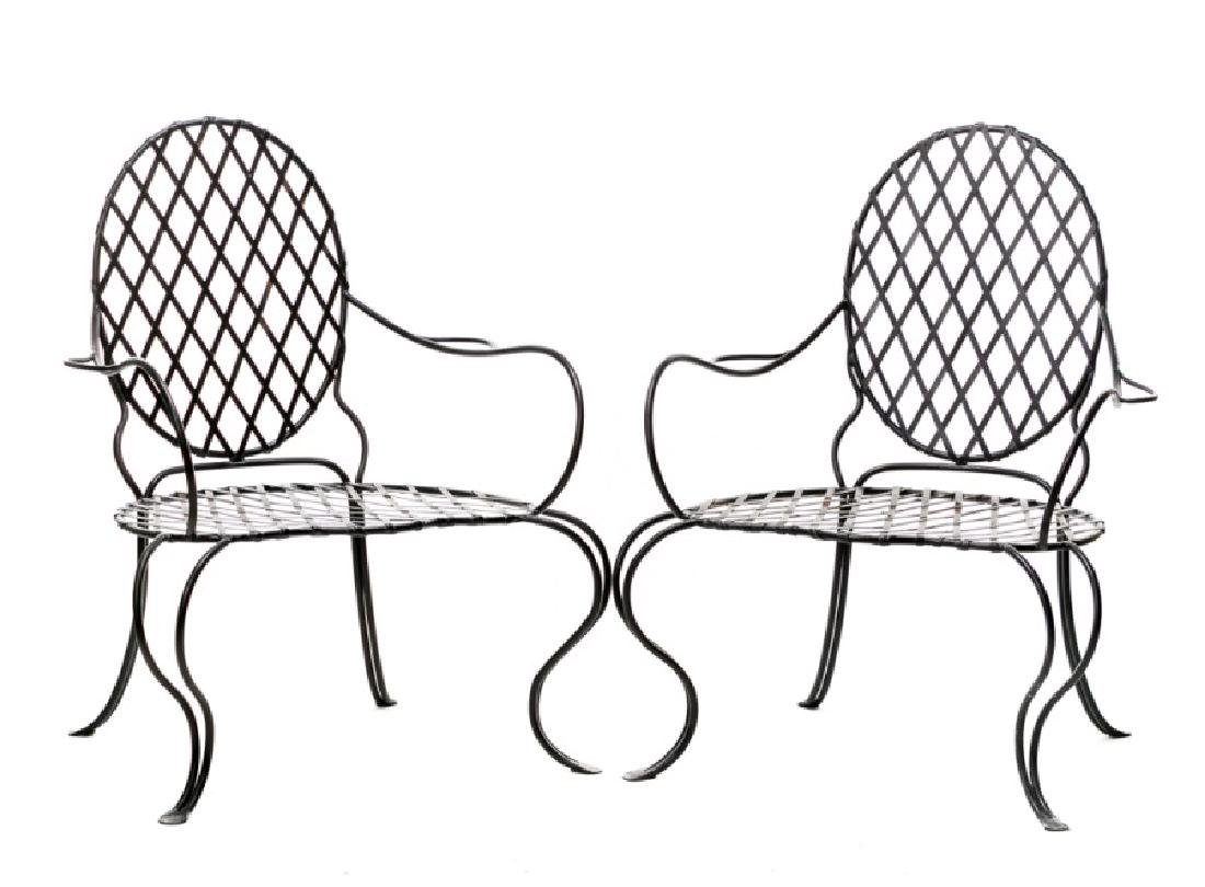 "Pair, ""Poltrona Merlino"" Wrought Iron Armchairs"